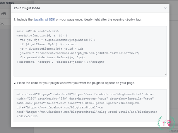 Códigos gerados pelo facebook like box.