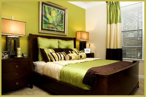 Eye for design decorating with the brown lime green for Green and brown bedroom designs