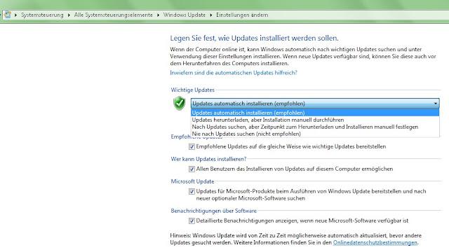 Windows 7 - Systemsteuerung - Automatische Updates