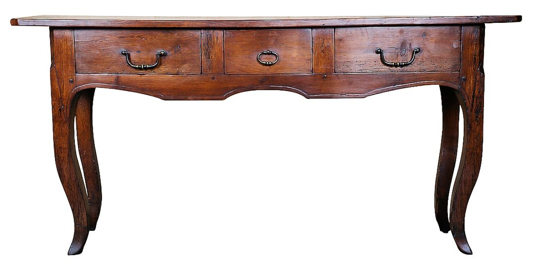 Lovely Country French sofa table/console converted from an antique farm  table. Circa 1870s. Cherry wood. The carved apron houses three drawers with  bronze ... - Lolo's French Bloguette: WEDNESDAY'S WORD OF THE WEEK: PIED DE BICHE