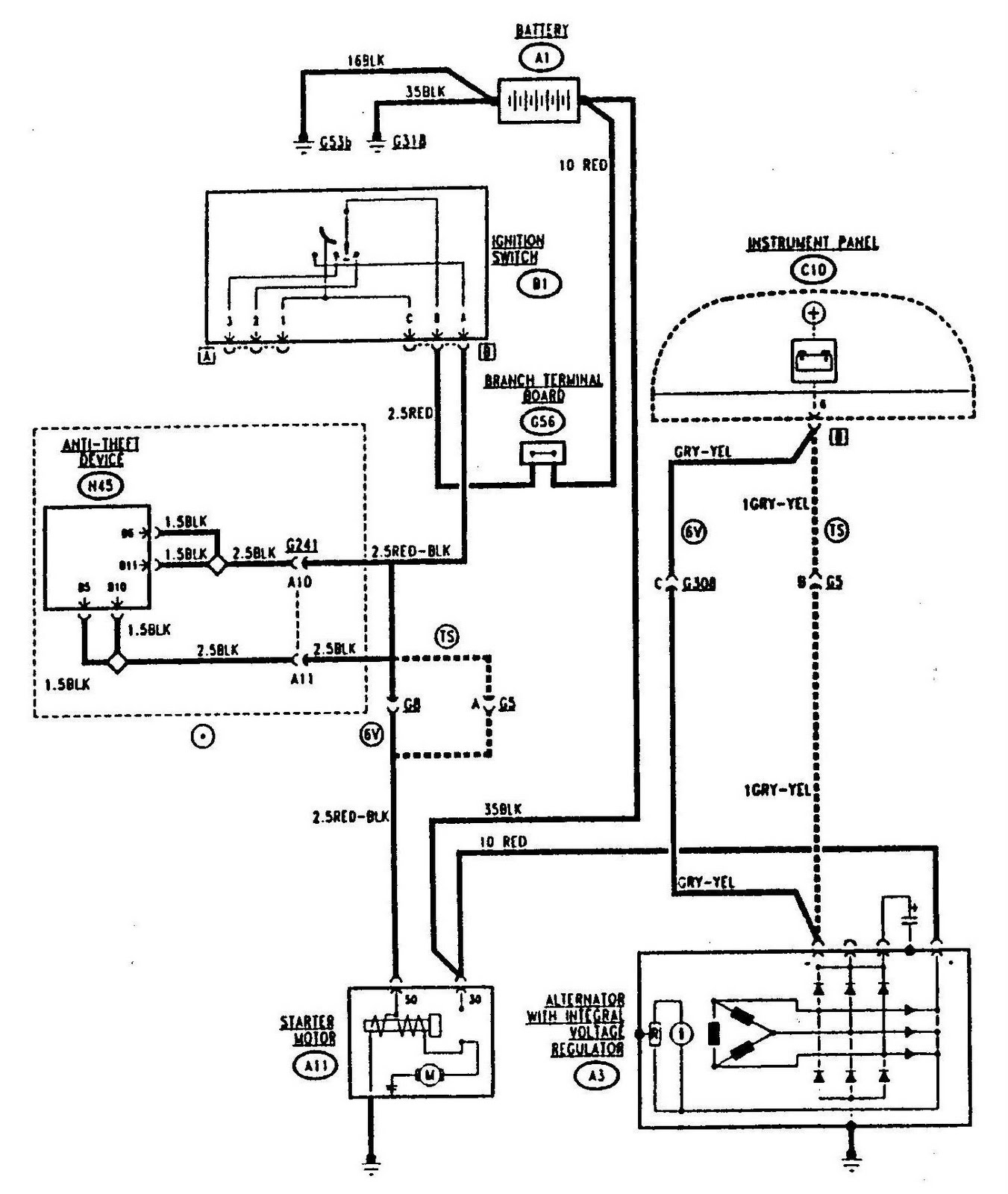 Alfa Romeo 155 Starting and Charging Circuit Diagram | Wiringdiagrams