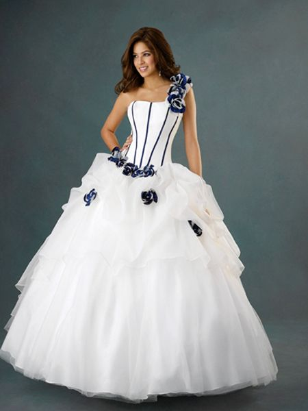 one shoulder Ball Gown Long Prom Dress with blue color accents and handmade flowers
