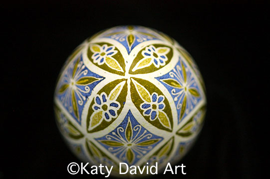 Pysanky in Green and Purple, Periwinkle Butterfly