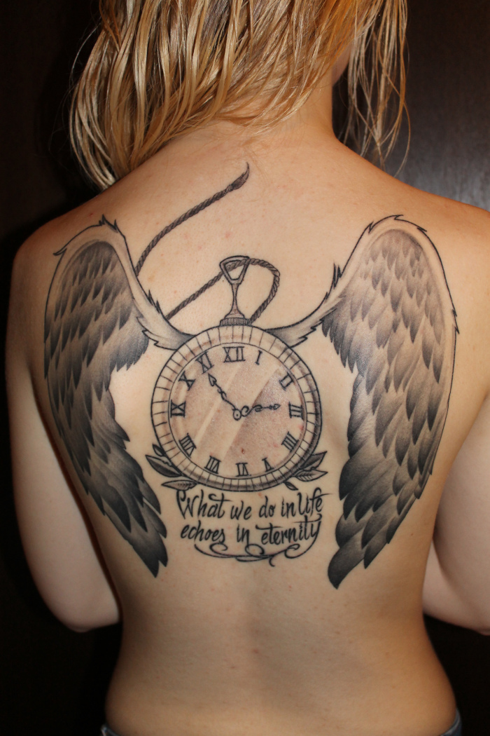 Clock tattoo quotes quotesgram for Back tattoos for girls quotes