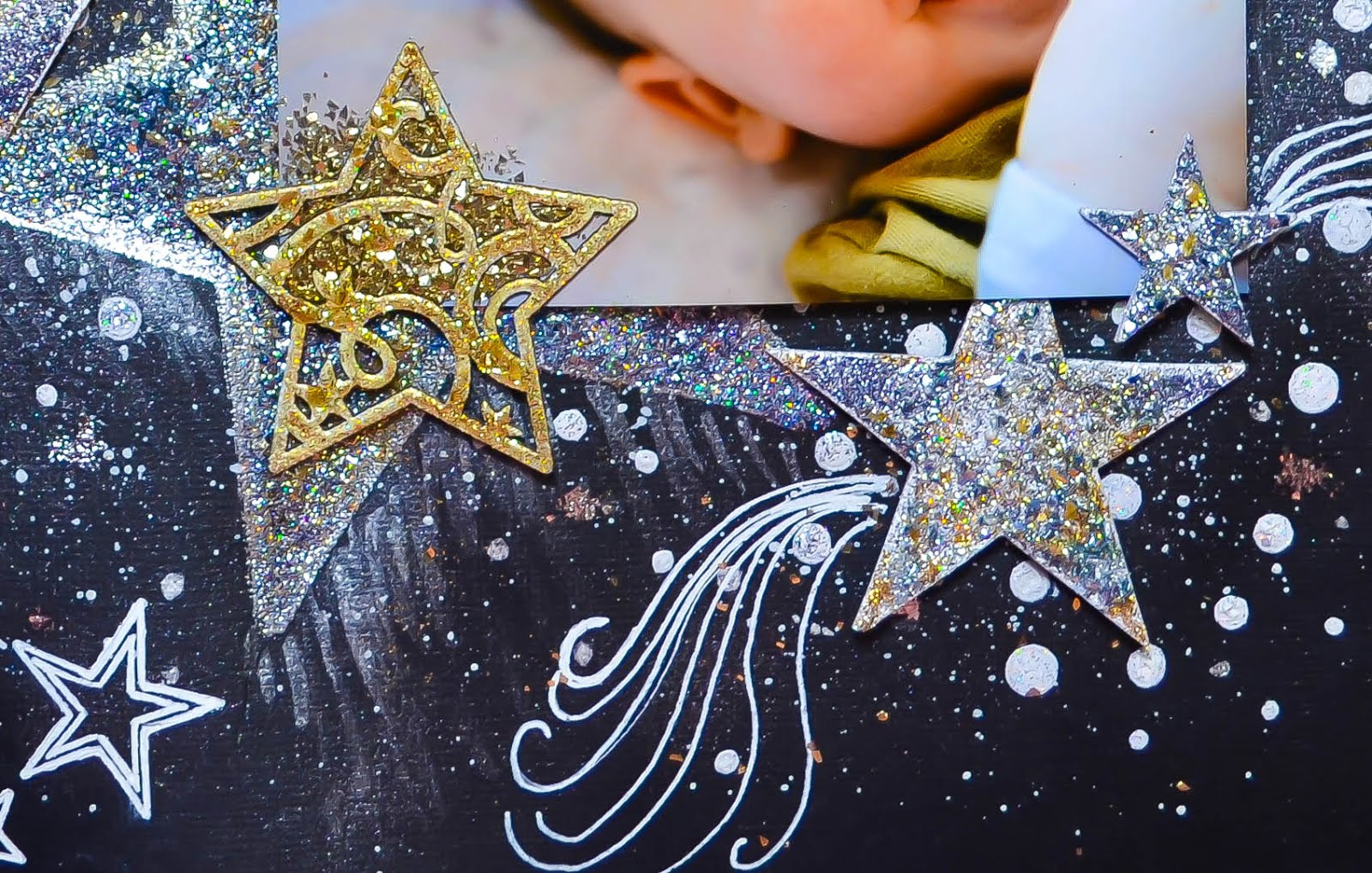 How to delete scrapbook photos google+ - Scrapbook Layout Challenge Black Cardstock Background With Stars Mixed Media With Heat Embossed Chipboard