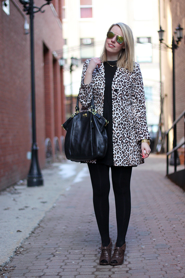 leopard print swing coat