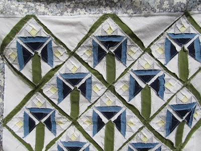 Blue and White Flowered Quilt Top