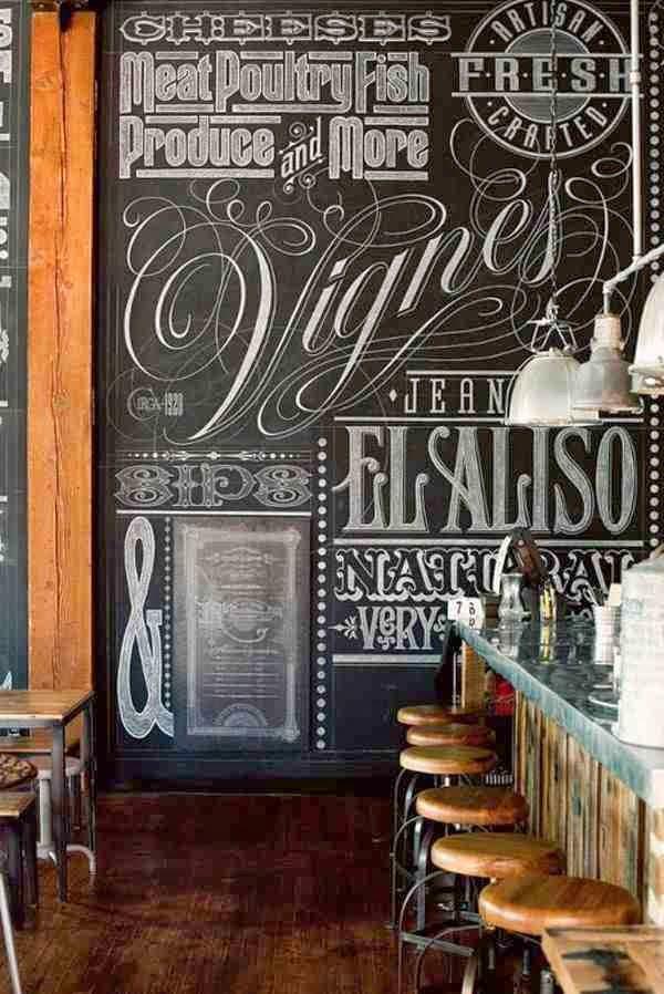 Rysunki i napisy na ścianie z farbą tablicową, farba tablicowa na ścianie