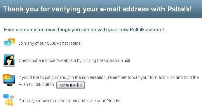 Verifikasi Email Paltalk