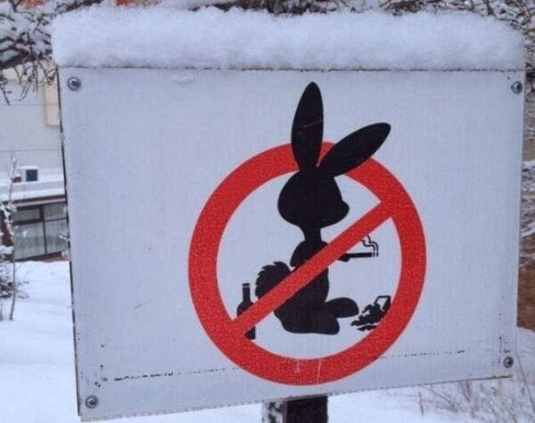 no smoking bunny sign
