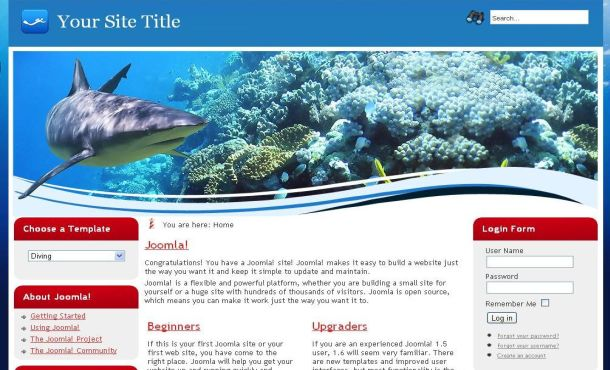 Ocean Fish Blue Red Joomla 1.6 Template