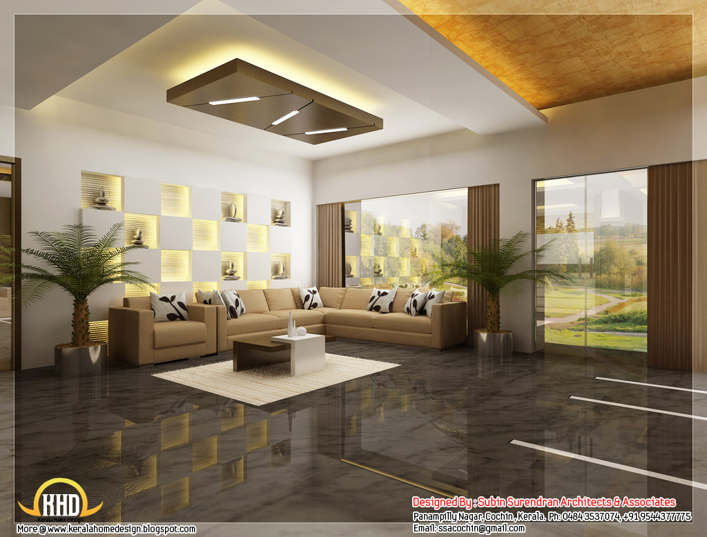Beautiful 3d interior office designs kerala home design for Kerala house living room interior design
