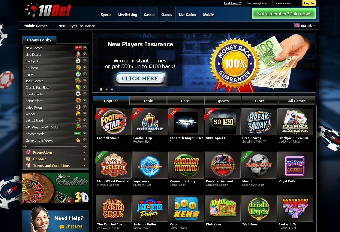 10Bet Casino Games Screen