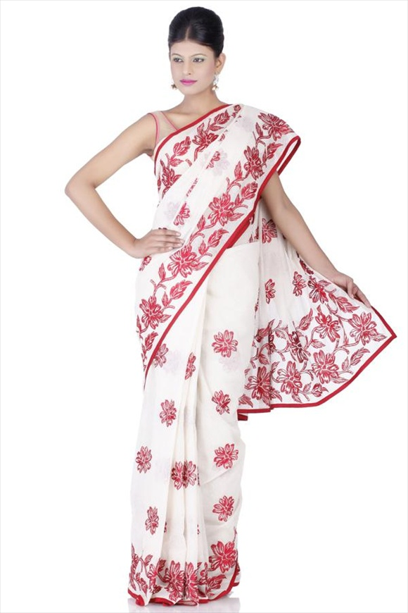 White Cotton Net Saree