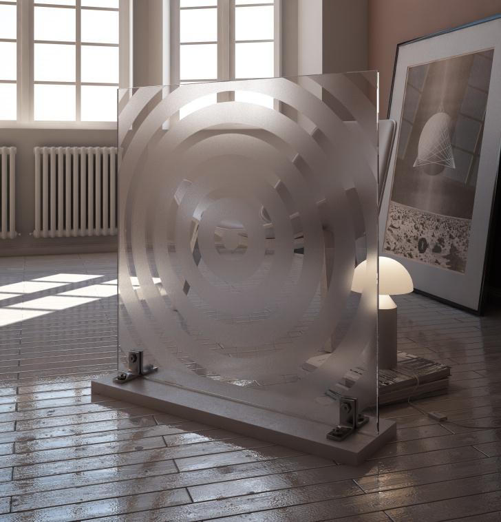vetro satinato serigrafato materiale vray