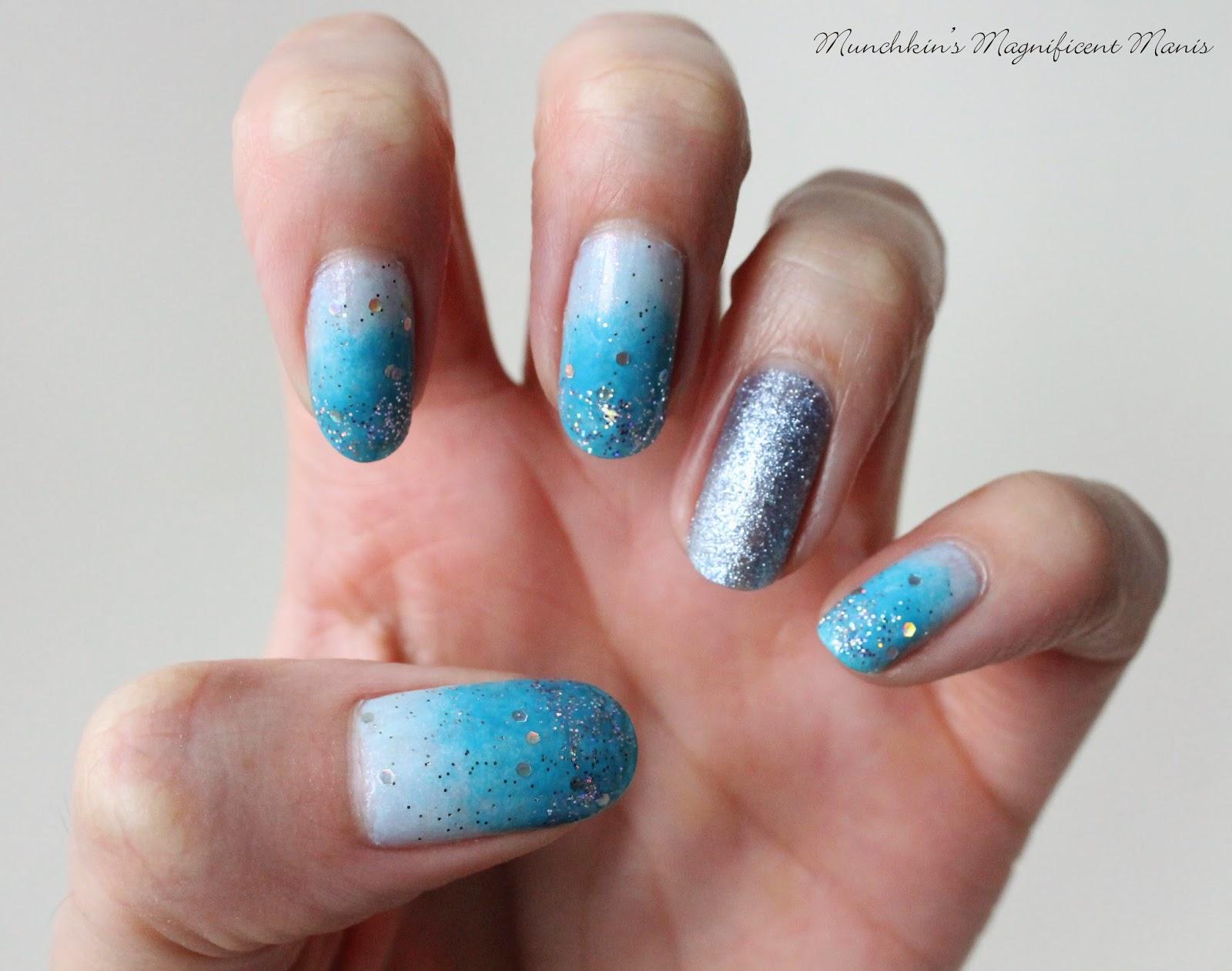 blue glitter gradient nail design