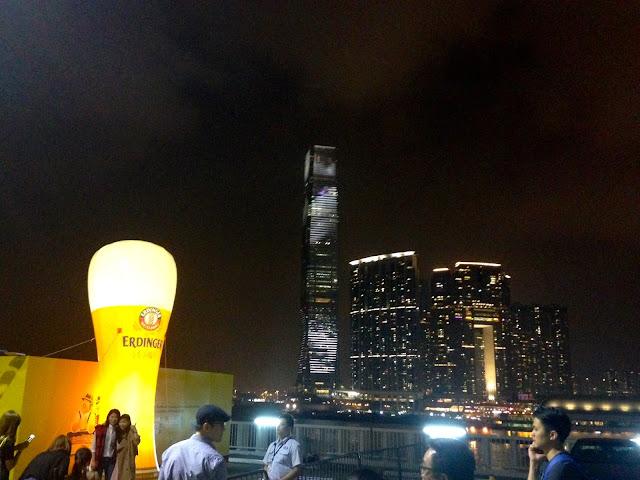 ICC tower from Marco Polo German Bierfest, TST, Hong Kong on Halloween