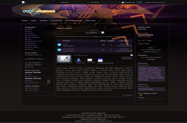 Free Dark Black Colorful Php-fusion Style Theme