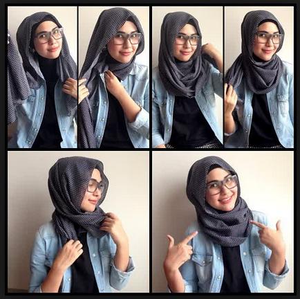 Gambar Tutorial Hijab Modern Casual