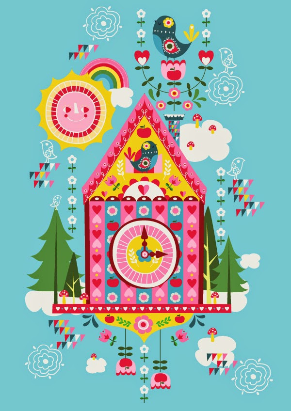 cuckoo clock illustration art cute kawaii