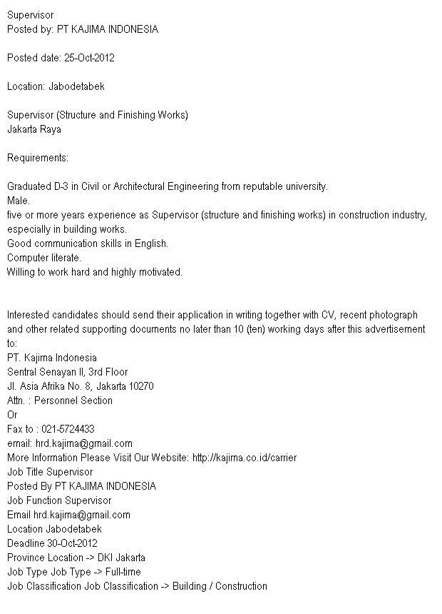 Lowongan Pekerjaan Supervisor PT KAJIMA INDONESIA