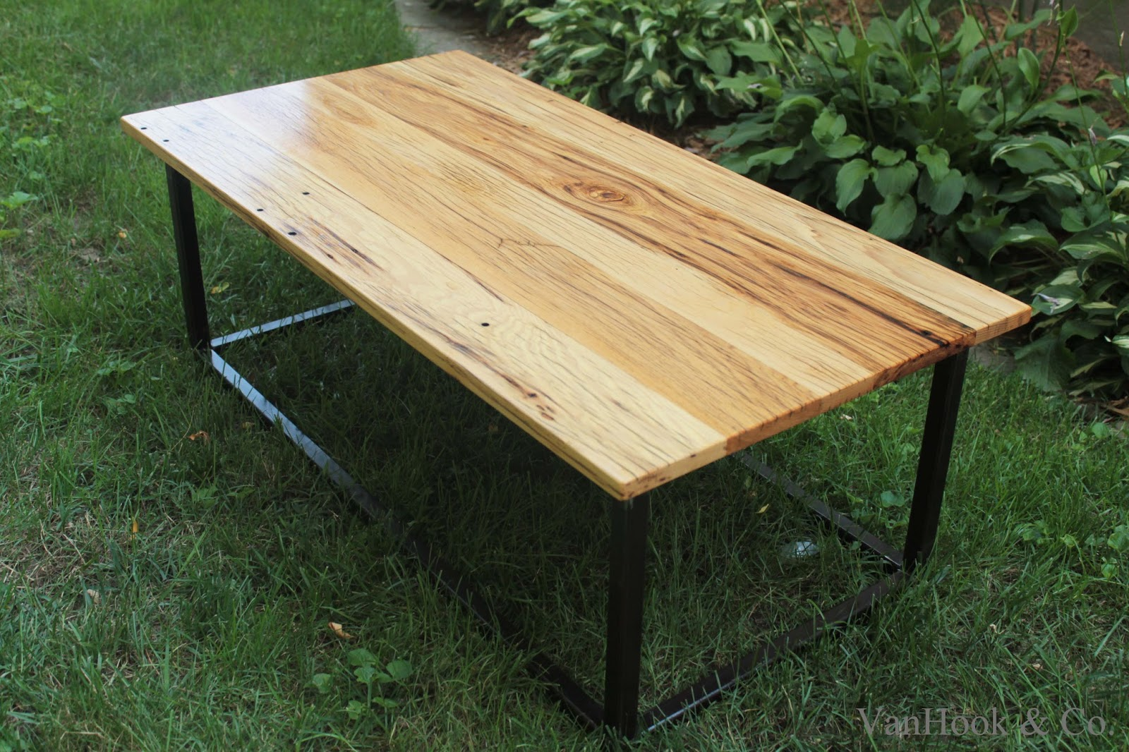White Oak Table ~ Vanhook co hand built white oak and steel frame coffee