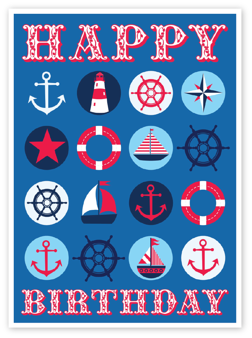 Emily Kiddy Nautical Themed Kids Birthday Card