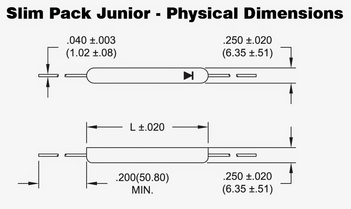 Dimensions of Slim Pack Junior (SPJ) Rectifiers