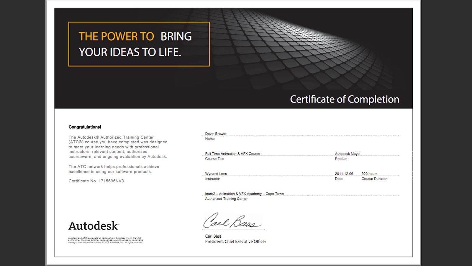 Divine 3d animation autodesk accreditation completion of two year 3ds max and maya course xflitez Gallery