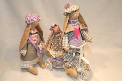 Текстильные интерьерные зайчики