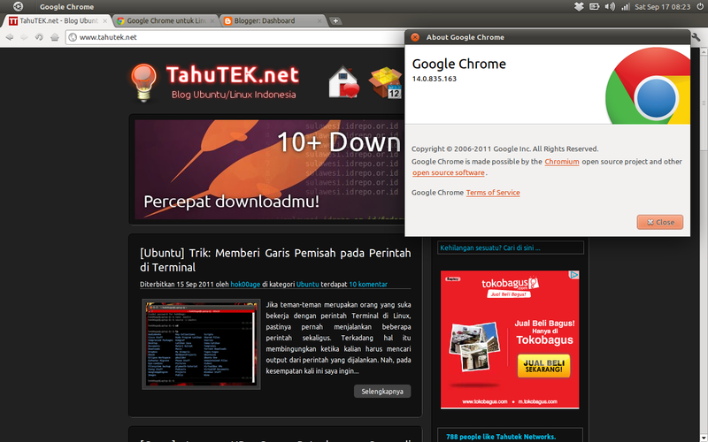 Instal Google Chrome 14 di Ubuntu