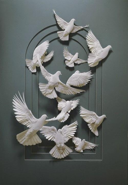 animal paper sculpture by Calvin Nicholls
