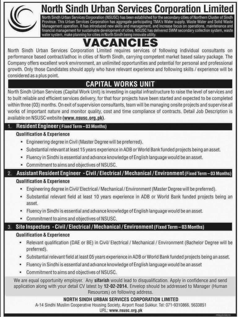 Vacancies in North Sindh Urban Services Corporation Ltd, Sukkur