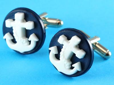 Rockabilly Anchor Cufflinks (Navy Blue)