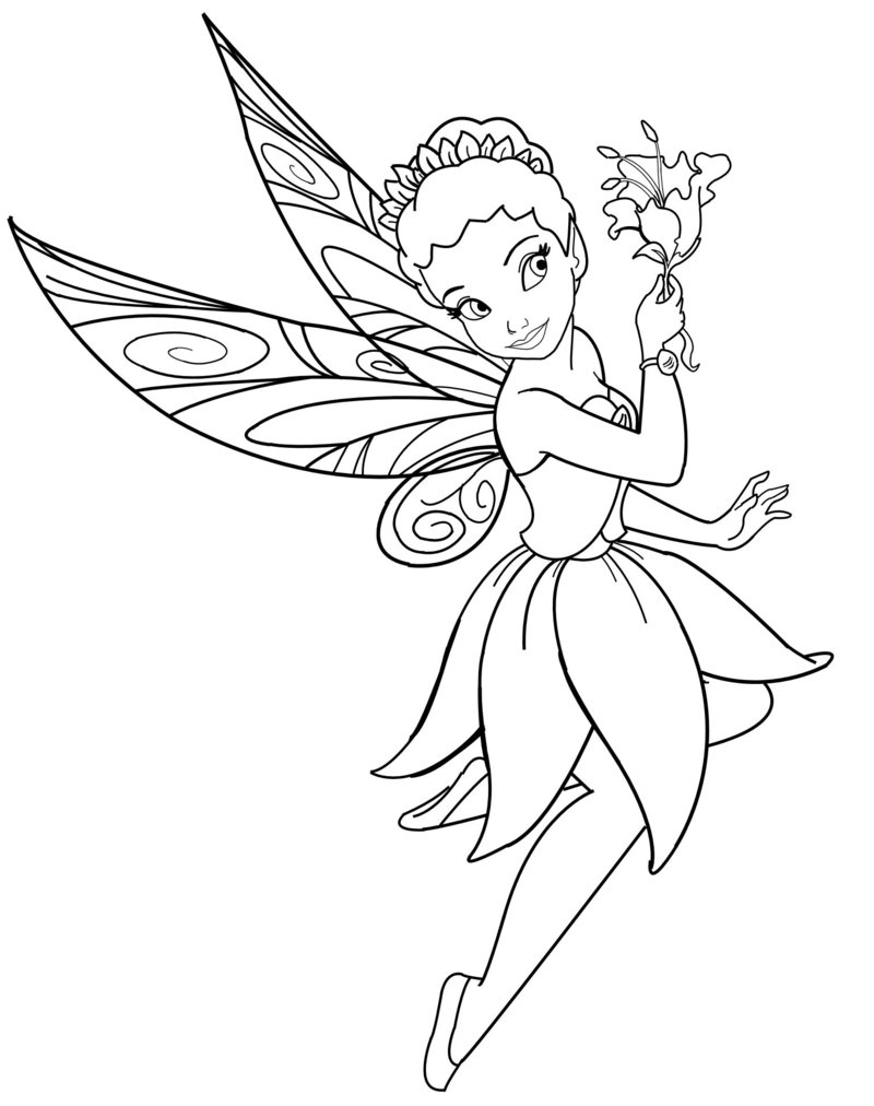 Disney Characters Fairies Iridessa Coloring Sheet