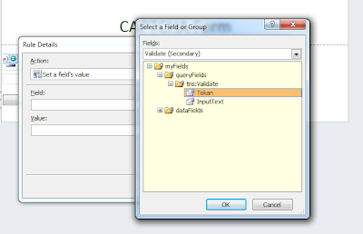 From validate method select query Token filed to set Rule Details filed