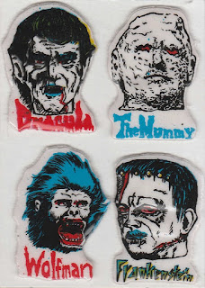 Glow in the dark horror puffy stickers from the 1980s includes Dracula, the Mummy, Wolfman and Frankenstein