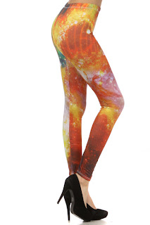orange galaxy print leggings