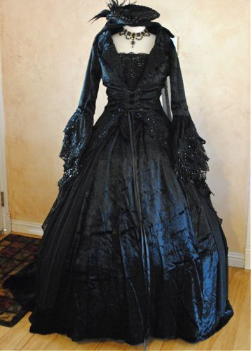 Black Gothic Victorian Masquerade Dress