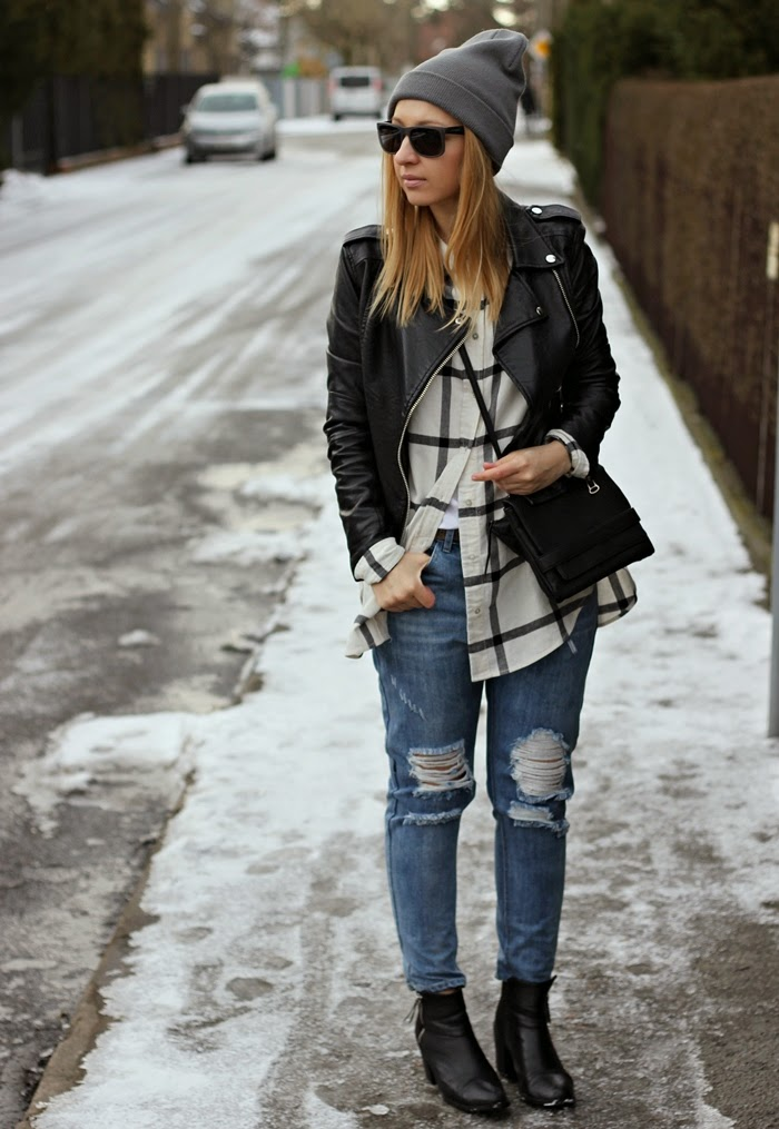 Street Style : Koszula w kratę + spodnie z dziurami