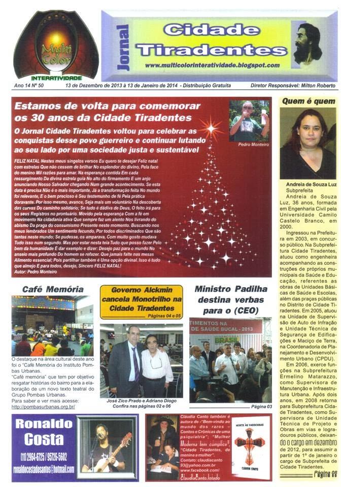 De volta o Jornal Cidade Tiradentes