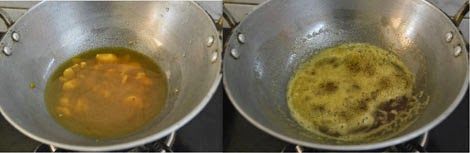 preparation -jaggery syrup for kolukattai stuffing