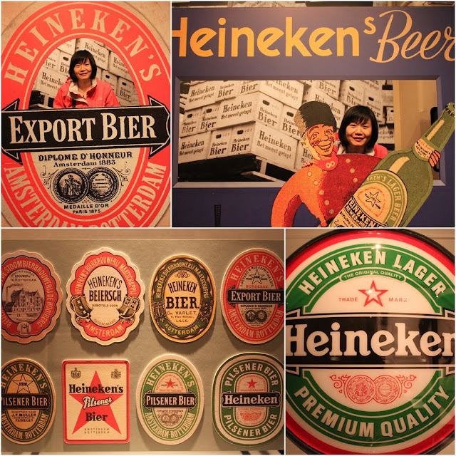 A history of different Heineken brand designs used were exhibited at Heineken Experience Museum in Amsterdam, Netherlands