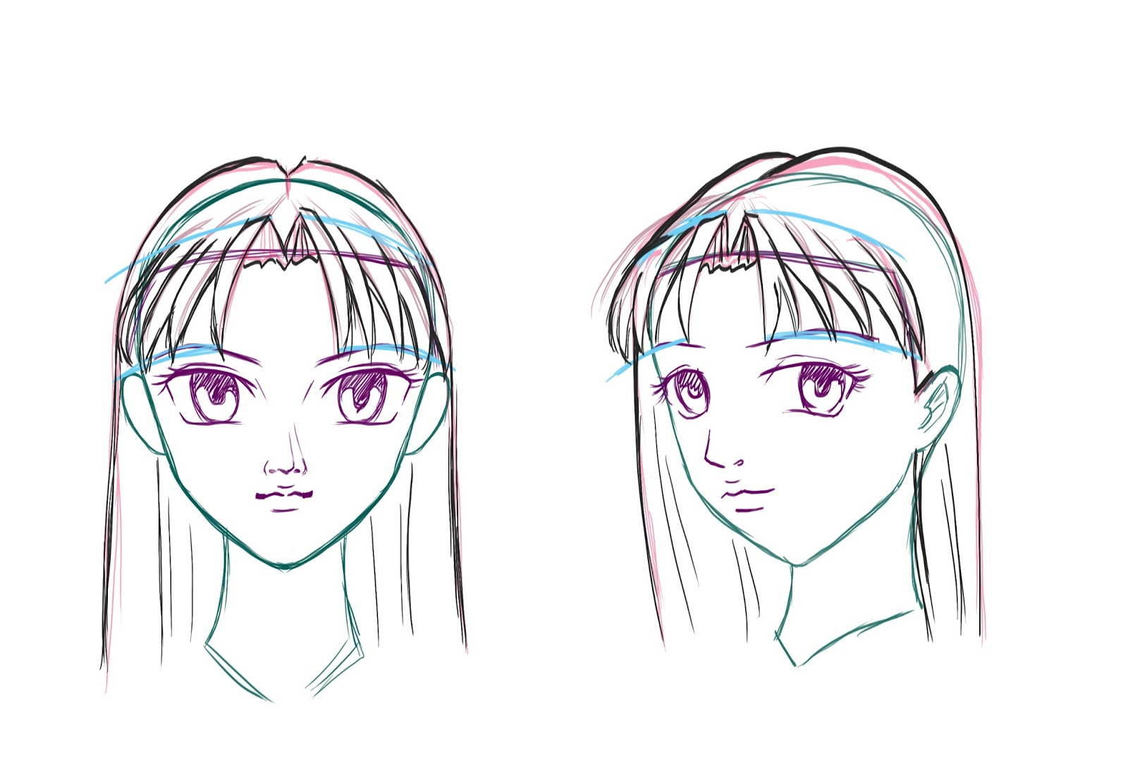 how to draw side bangs