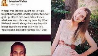 Surat cinta putri Paul Walker untuk sang ayah