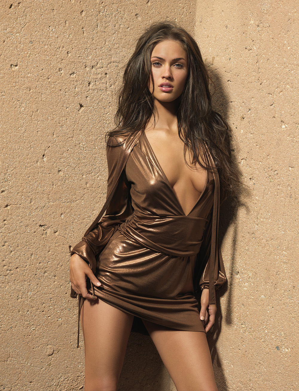 megan fox in gold dress