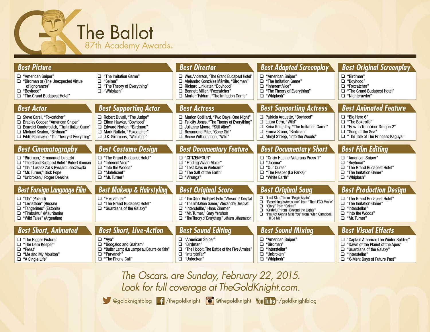 photo relating to Oscar Ballots Printable identify Oscars 2015: Obtain our printable ballot The Gold Knight