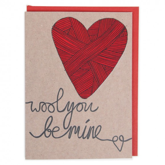 wool valentines card