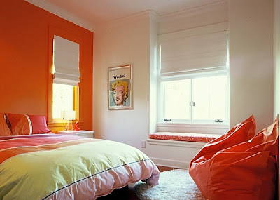 habitación color naranja