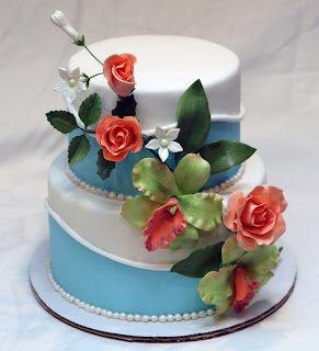 blue and white 2 tier wedding cake